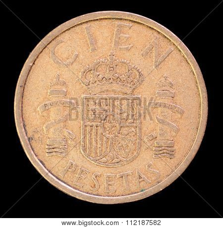 Tail Of 100 Pesetas Coin, Issued By Spain In 1984 Depicting The National Coat Of Arms
