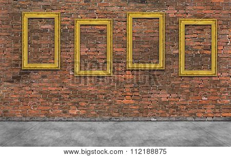 Golden Frames On Brick Wall