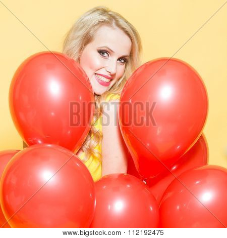 Woman In Many Balloons