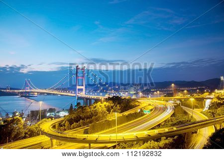 Hong Kong Bridge,it Is Beautiful Tsing Ma Bridge In Hong Kong