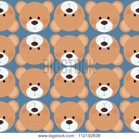 Seamless pattern background tile - cute Teddy bear head