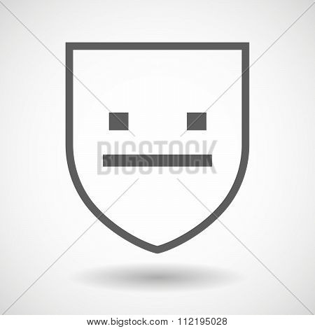 Line Art Shield Icon With A Emotionless Text Face