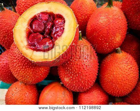Gac Fruit Or Baby Jackfruit, Cochinchin Gourd, Spiny Bitter Gourd, Sweet Gourd (momordica Cochinchin