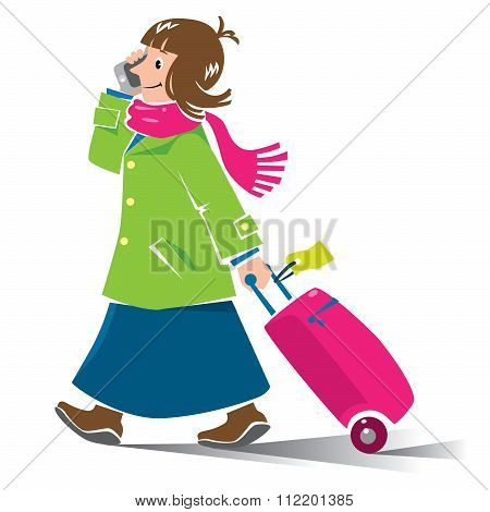 Funny woman air passenger with suitcase and phone