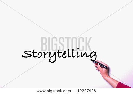 Woman's Hand With Pen On Whiteboard Writing Storytelling