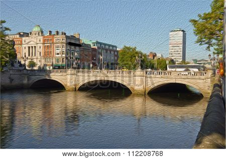 Oil Painting Most Famous Bridge In Ireland,o'connell Bridge,dublin City Centre
