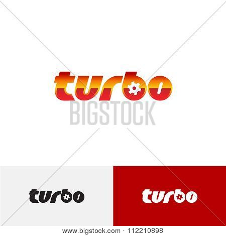 Turbo Word Text Logo With Turbine Charger Fan