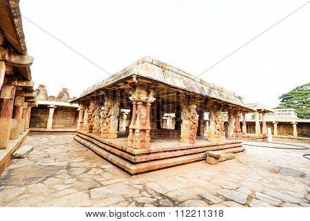 Artistic nritya (or dance) mandapa inside an ancient Hindu temple built by Chola kings