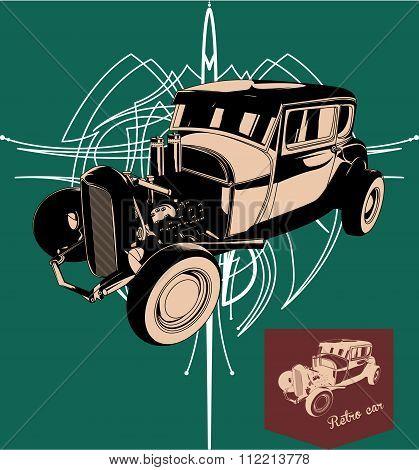 Hot rod Retro car. Vector vintage poster