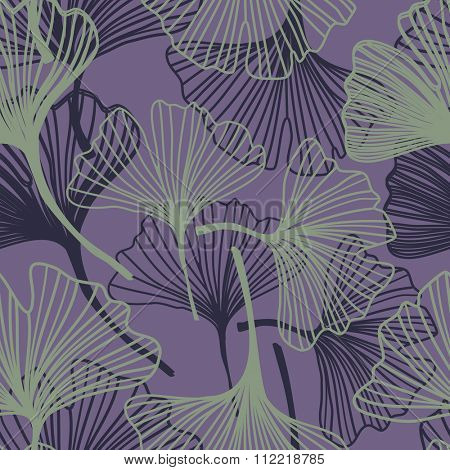 Gingko biloba seamless pattern. Abstract vector background in violet and green colors