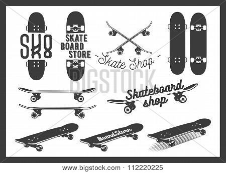 Vector set of skateboard emblems, labels, badges and design elements. Skateboarding concept illustra