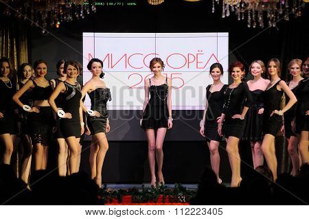Orel, Russia - December 20, 2015: Miss Orel 2015 Beauty Contest. Defile In Small Black Dresses
