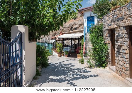 Entrance to traditional Greek taverna in Hora Sfakion town