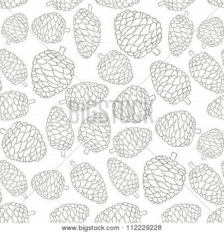 Christmas Seamless Vector Pattern With Pine Cones. Hand Drawn In Black And White. Background For Fab