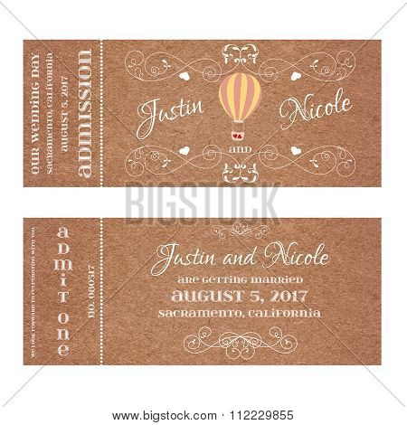 Vector Grunge Ticket for Wedding Invitation with Montgolfier