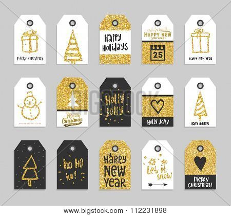 Set of Christmas and New Year Gift Tags with Golden Glitter Backgrounds. Cute Hand Drawn Holiday Labels for Xmas Design. Badge Designs Collection.
