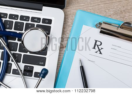Close-up View Of Doctor's Working Table
