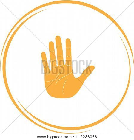 stop hand. Internet button. Raster icon.