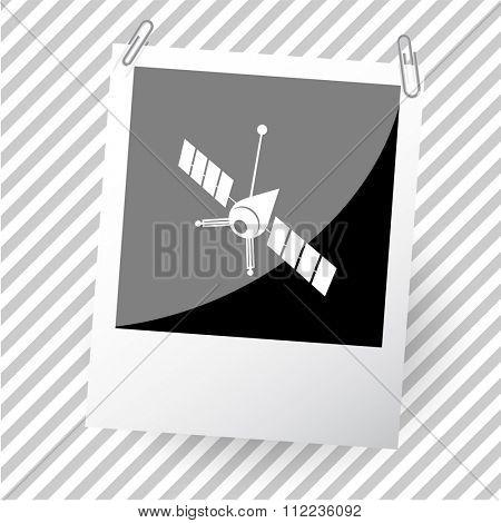 spaceship. Photoframe. Raster icon.