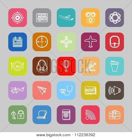 Air Transport Related Line Flat Icons