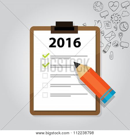 new year target resolution goals check mark pencil board flat vector graphic illustration concept