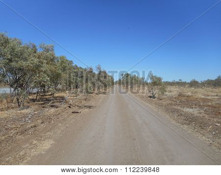A dirt road in the middle of outback Australia