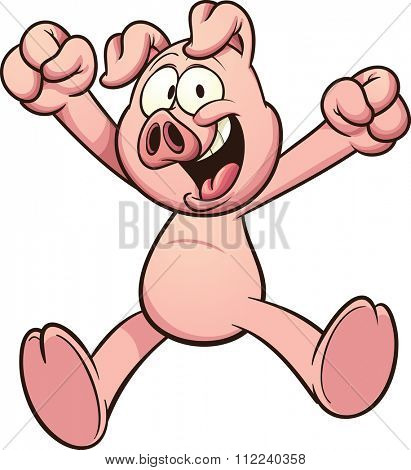Happy cartoon pig. Vector clip art illustration with simple gradients. All in a single layer.