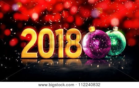 2018 Baubles Gold Beautiful Bokeh Winter 3D