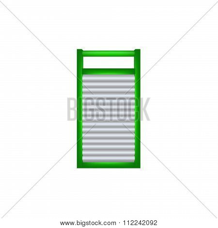 Wooden washboard in green and silver design
