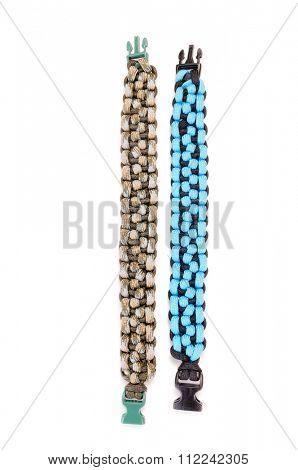 Morse code Parachute cord bracelet on a white background