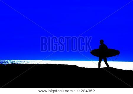 Surfer Going Out To Sea