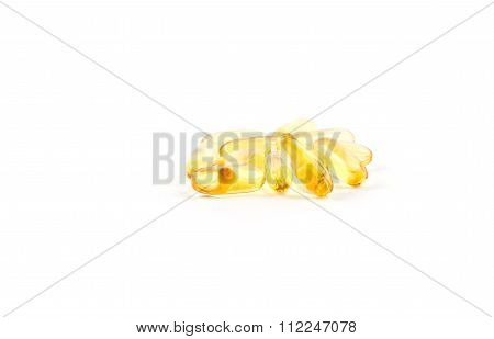 Fish Oil Capsules On White Background