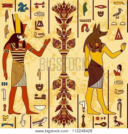 Seamless pattern with egyptian gods and ancient egyptian hieroglyphs on grunge aged paper background