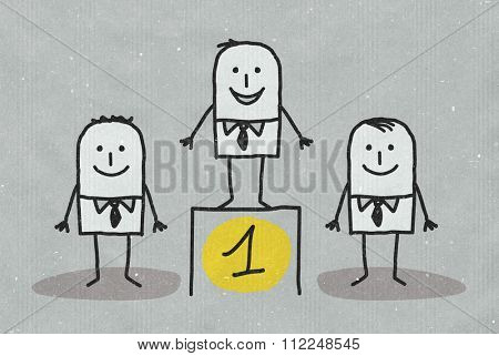 Hand drawn cartoon characters on textured background - man standing on number one podium