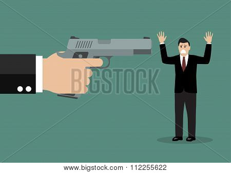 Hand With A Handgun Robs A Businessman