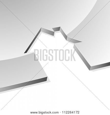 Grey house 3D shape concept image with white copy space.