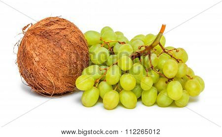 Bunch Of Green Grapes And Coconut