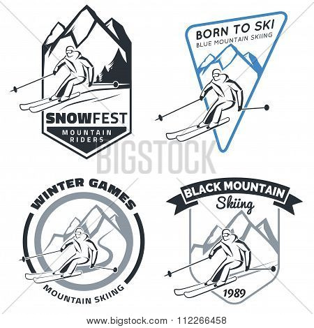Set Of Winter Mountain Ski Emblems, Badges And Icons.