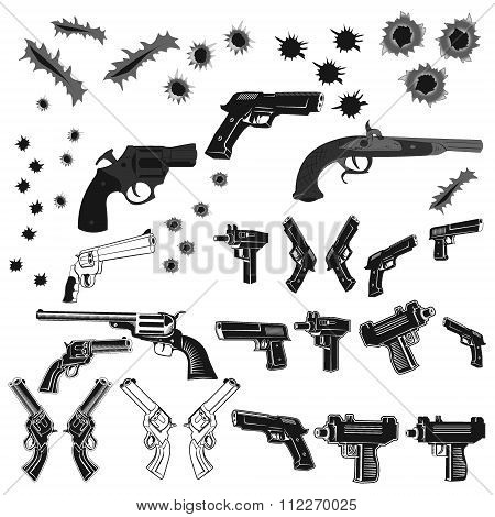 Guns And Bullet Holes Set