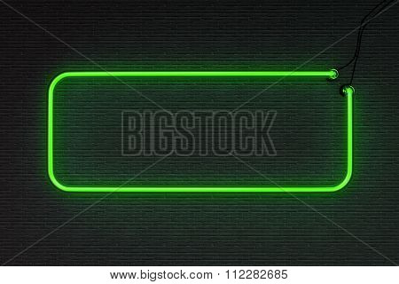 3d render green neon frame isolated on black background