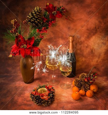 Christmas Still Life With Sparklers, Ornaments, Champagne, Tangerines