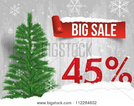 Winter Sale 45 Percent. Winter Sale Background With Red Ribbon Banner And Snow. Sale. Winter Sale. C