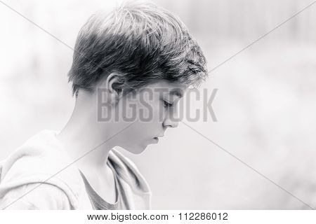 High Key Black And White Portrait Of A Teenage Boy