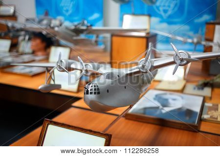MOSCOW, RUSSIA - JUN 21, 2014: Exhibition of civil and military aircraft. Model all-metal amphibian aircraft ANT-44 (MTB-2). Tupolev Museum.