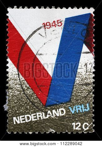 NETHERLANDS - CIRCA 1970: A stamp printed in the Netherlands issued for the 25th anniversary of Liberation shows V Symbol, circa 1970.