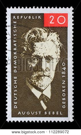 GDR - CIRCA 1965: a stamp printed in GDR shows August Bebel, German Marxist Politician, Co-founder of the Social Democratic Party, circa 1965