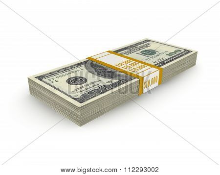 Stack Of Ten Thousand Dollars Isolated On White Background