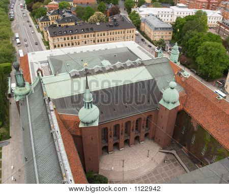 aerial view of stockholm city hall - for nobel price banquet poster