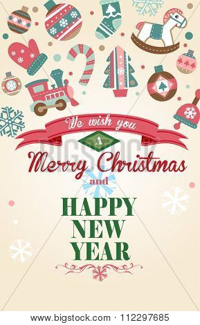 Cute Christmas greeting card with different Christmas ornaments for banners and decorations.