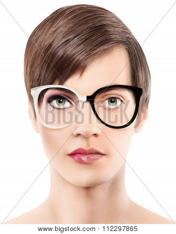 Eyewear Glasses Half Man Half Woman Portrait, Wear Spectacles